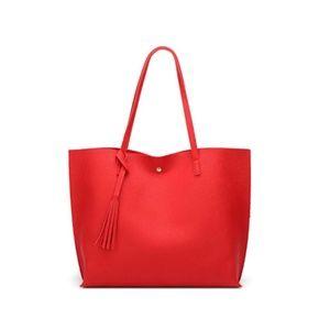 Red Soft Faux Leather Shoulder Bag